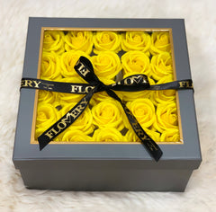 Premium Scented Soap Yellow Rose In Grey Square Box