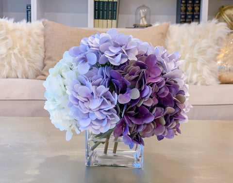 Real Touch Purple Hydrangea Arrangement For All Occasion-Purple Hydrangea-White Hydrangea-Fake Flowers Arrangement -Centerpiece