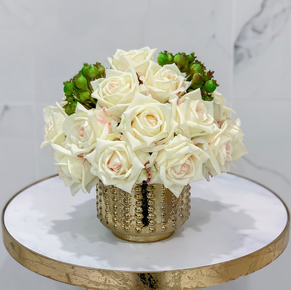 Flovery Everlasting Real Touch Cream Rose Centerpiece