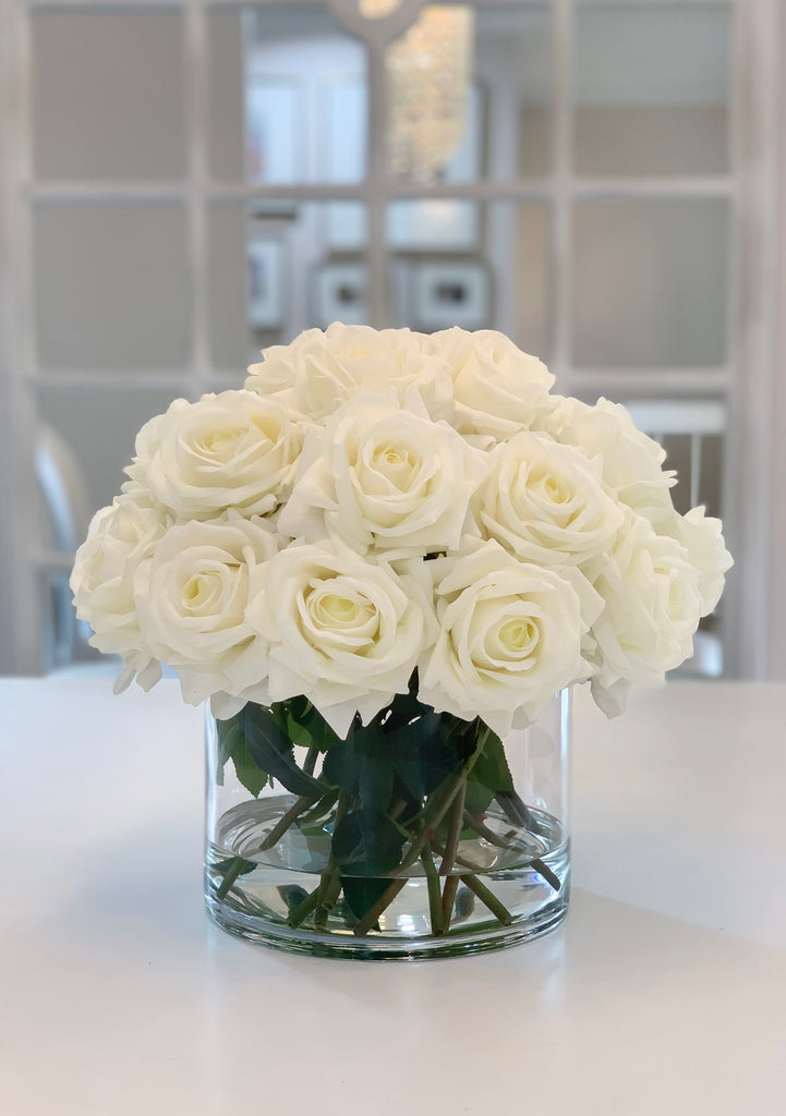 Giant White Rose Real Touch Flower Arrangement In Vase Large Dining Ta Flovery