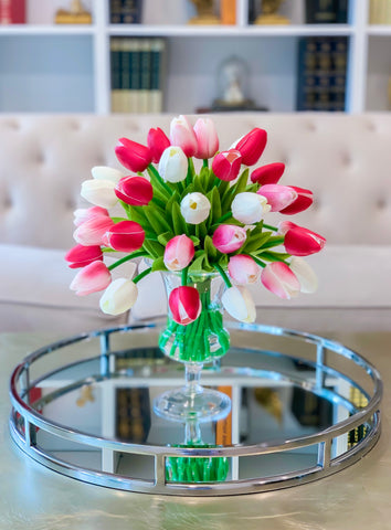 Real Touch Centerpiece -Real Touch Flowers Centerpiece-Pink Real Touch Tulip Arrangement-Faux Tulip Arrangement-Silk Tulip - Flovery