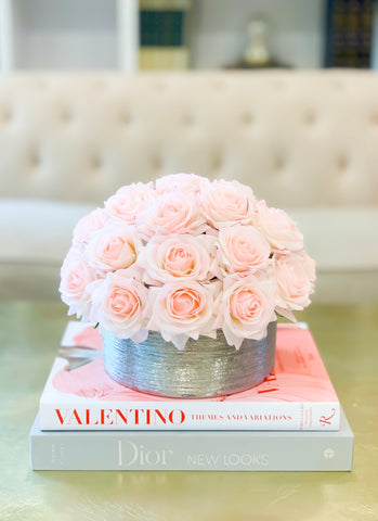 28 Pink Real Touch Rose Arrangement-Real Touch Centerpiece-Artificial Flower Arrangement-Faux Floral Arrangement-Rose Centerpiece-Blush Rose