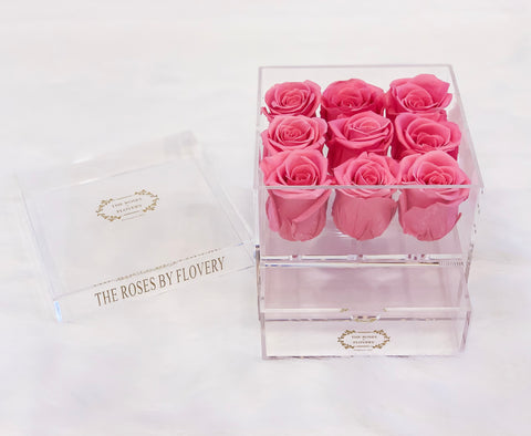 9 PREMIUM ECUADOR PRESERVED SWEET PINK ROSES ARRANGEMENT IN JEWELRY ACRYLIC BOX WITH DRAWER - Flovery