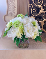 All Real Touch Peonies , Hydrangea Centerpiece Arrangement - Flovery