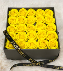 Premium Scented Soap Yellow Rose In Grey Square Box - Flovery