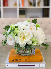Large Real Touch Centerpiece-White Real Touch Roses-Peonies Arrangement Dining Room-White Real Touch Floral Arrangement-Faux Peony/Roses - Flovery