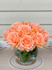 Real Touch Orange Roses Arrangement-Orange Real Touch Flower Arrangement-Artificial Faux Silk Flowers-Real Touch Roses-Centerpiece-Rose -