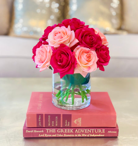 Mixed Pink Real Touch Rose Arrangement - Flovery