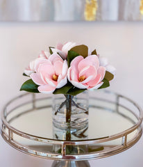 Artificial Flowers in Vase-Real Touch Magnolia Flower Arrangement-Floral Arrangement Magnolia-Magnolia Centerpiece Home Decor - Flovery