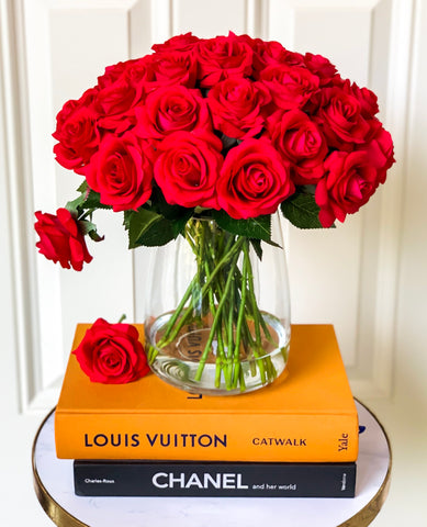 30 Large Real Touch Red Roses Arrangement - Flovery