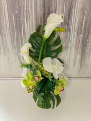 Contemporary Design Arrangement White Real Touch Calla Lily Mixed Orchid - Flovery