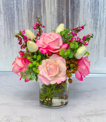 Real Touch Flowers Centerpiece - Real Touch Roses-Faux Floral Arrangement-Silk Flowers Arrangement - Silk Flowers - Flovery