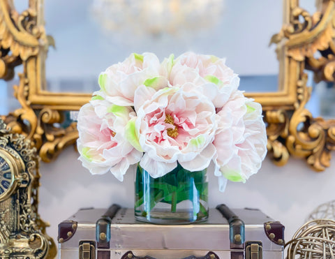 Light Pink Large Real Touch Peonies-Large Size Peony Centerpiece-Dining Room Centerpiece-Real Touch Arrangement- - Flovery