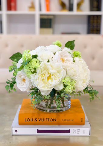 Large Real Touch Centerpiece-White Real Touch Roses-Peonies Arrangement Dining Room-White Real Touch Floral Arrangement-Faux Peony/Roses