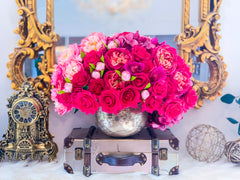 Large Real Touch Rose Orchid Hydrangea Centerpiece Gold - Flovery