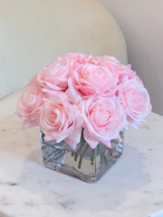 Blush/Pink/Light Pink/Baby Pink Real Touch Roses Arrangement-Pink Centerpieces- Floral Arrangements-Artificial Faux Flowers-Silk-Rose/Roses -