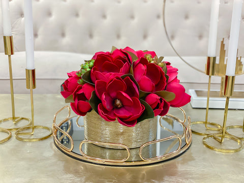 Christmas Arrangements-REAL TOUCH Red Magnolia Flower Arrangement-Artificial Flowers in Gold Vase-Floral Arrangement Magnolia