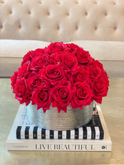 Valentine Floral Arrangement-Red Real Touch Rose Arrangement-Centerpiece-Centerpiece-Artificial Roses Arrangement-Faux Arrangement