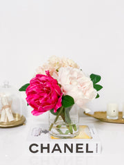 Pink Finest Real Touch Queen Peony-Large King Size Peonies Centerpiece-Peonies Arrangement-Silk-Luxury Like Life Peonies-Faux Hydrangea -