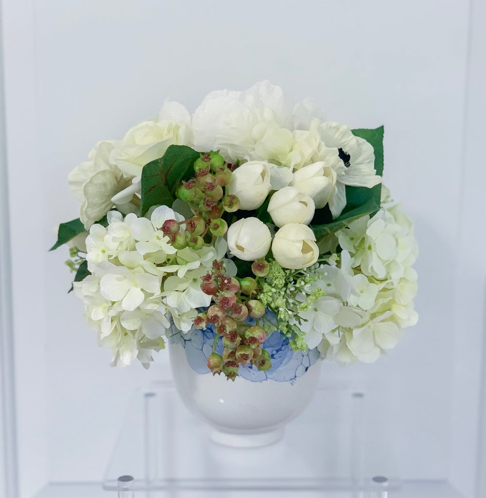 Mixed Real Touch White Flowers In Porcelain Vase
