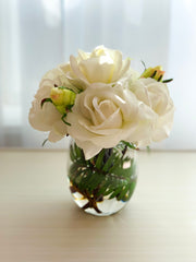 White Real Touch Roses Buds Arrangement