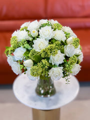 Large White Rose Real Touch Centerpiece - Flovery