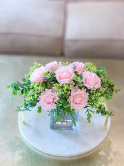 Pink/Blush Centerpiece-Rose Real Touch Flower Arrangement-Silk Flower Arrangement-Rose Centerpiece Home Decor-Floral Arrangement - Flovery