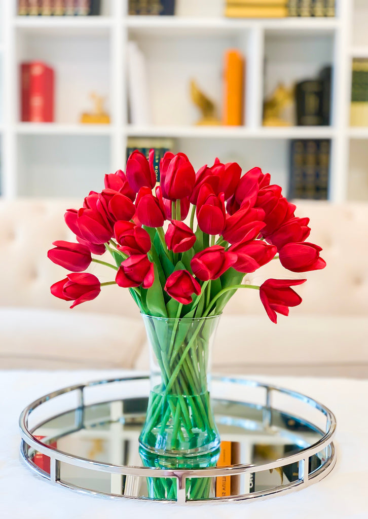 Large Real Touch Tulip Arrangement-Red Tulips Centerpiece-Faux Flower-Silk FlowerCenterpieces Artificial Arrangements-Mother' day gift - Flovery
