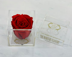 Elegant premium Ecuador preserved rose in clear acrylic cube - Flovery
