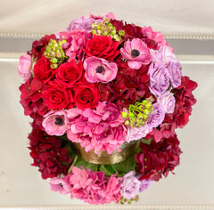 Lucky NewArrangement-Large Real Touch Centerpiece-Real Touch Flower Arrangement-Red Flower Arrangement-Red Centerpieces-Faux Arrangements