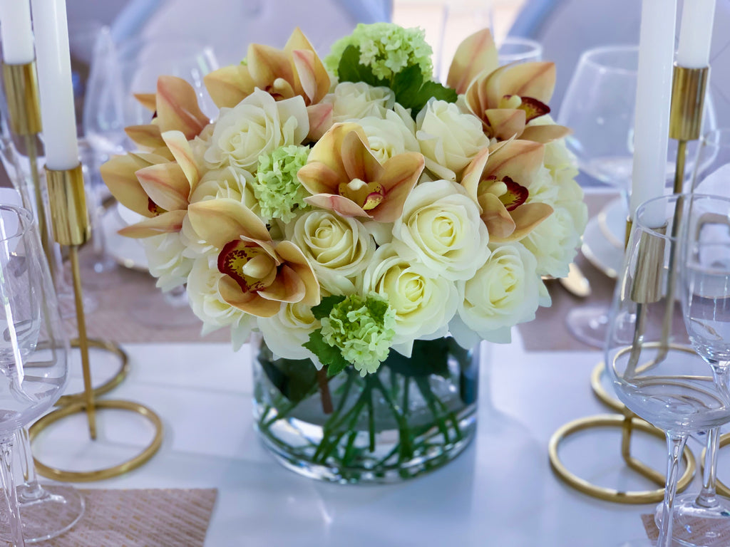 30-in Real Touch White Cream Roses Orchids Centerpiece