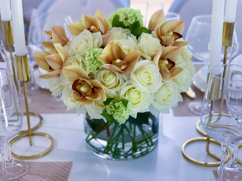Elegant Centerpiece 30 Real Touch White Cream Roses Mixed With Orchids For Home Decor