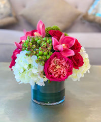 Real Touch Flowers Arrangement - Pink Flowers Centerpiece - Silk Flower Centerpiece In Real Touch Category- Spring Flowers - Flovery