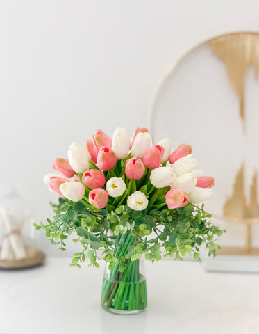 Real Touch Tulip Arrangement-PinK/White Tulip Centerpiece-Real Touch Arrangement-Silk Flower Arrangement-Artificial Flower-Faux Flowers