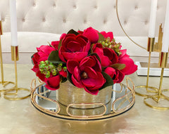 Dining table Arrangements-REAL TOUCH Red Magnolia Flower Arrangement-Artificial Flowers in Gold Vase-Floral Arrangement Magnolia