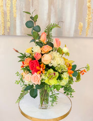 Happy Life Arrangement - Large Real Touch Centerpiece - Modern Farmhouse - Flovery
