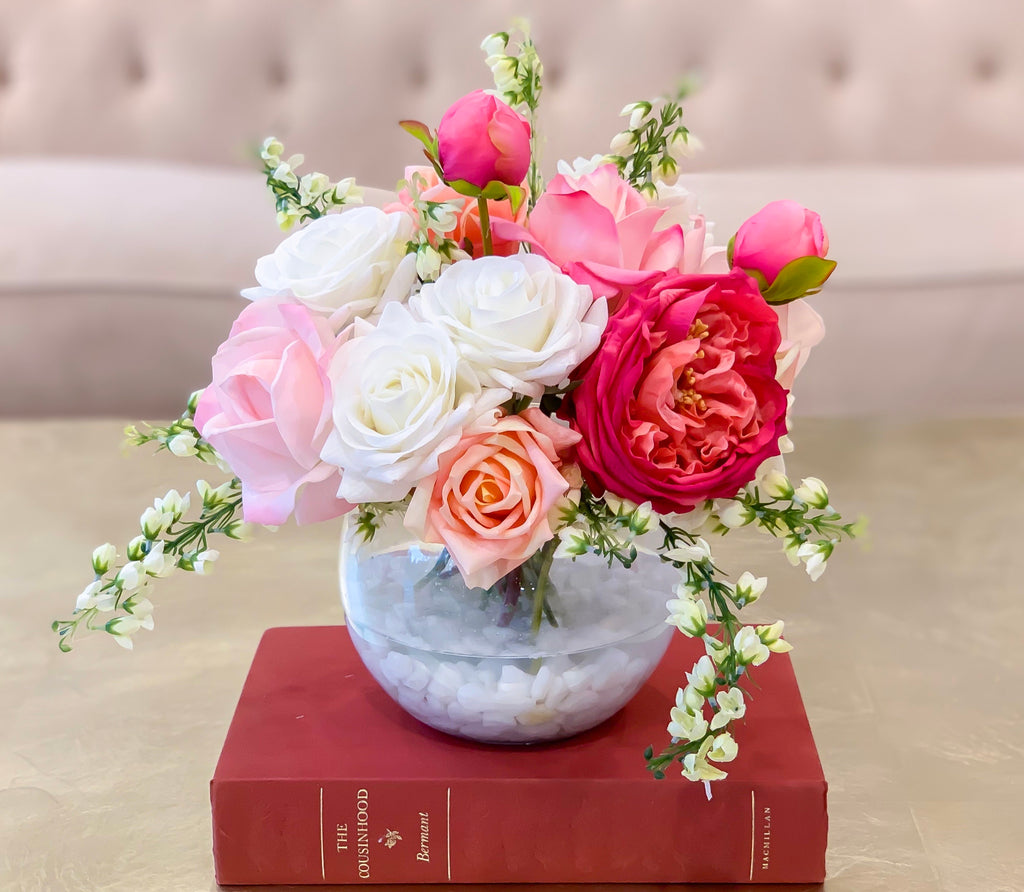 Real Touch Centerpiece English Magenta Roses Arrangement Mixed Pink Rose, White roses, Flowers Centerpiece - Flovery