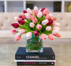 Faux Real Touch Tulips Centerpiece for Dining Table  Pink Tulip Artificial Arrangement - Flovery