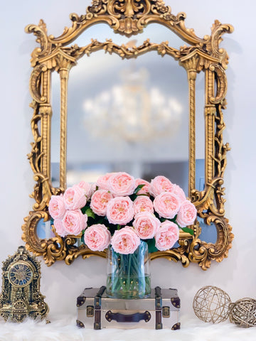 "18"" Large Real Touch Centerpiece-Pink Centerpiece-Dinning Room Centerpiece -Artificial Flower-Faux Floral Arrangement-Large Size Austin Rose - Flovery"