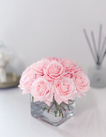 Blush/Pink/Light Pink/Baby Pink Real Touch Roses Arrangement-Pink Centerpieces- Floral Arrangements-Artificial Faux Flowers-Silk-Rose/Roses