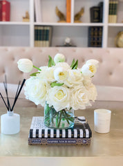 White Real Touch Flower Arrangement-Large Real Touch Rose Arrangement-Tulip Arrangement-Artificial Flower Arrangement-Tulip Centerpiece - Flovery