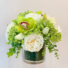 Real Touch White Rose Tulip Green Orchid Arrangement - Faux Flowers Arrangement- Home Decor By Flovery - Flovery