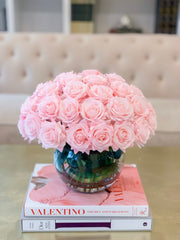 Real Touch Flower Arrangement-Baby Pink/Pink/Blush Rose Flower Arrangement-Rose Faux Arrangement-Rose Centerpieces-Real Touch-Silk Roses - Flovery
