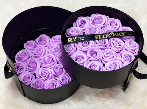 Premium Scented Soap Purple Roses In Elegant Double Box - Flovery