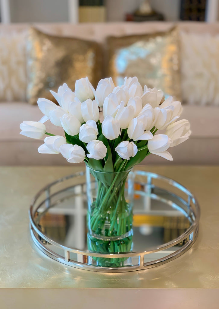 Large White Real Touch Tulip Arrangement-40 Tulips Centerpiece-Real Touch Flower Arrangement-Silk Flower Arrangement-Home Decor Arrangement - Flovery