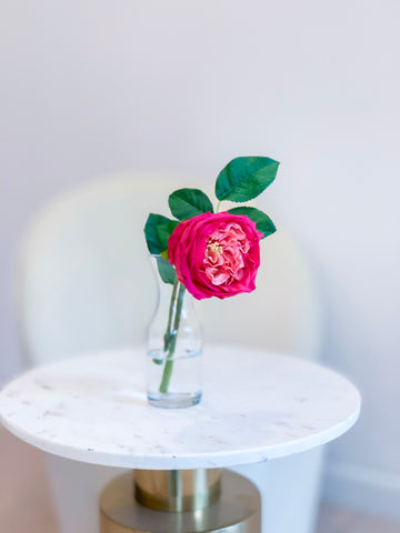 Large Real Touch English Rose Arrangement-Artificial Flower Arrangement-Faux Flower-Silk Flower-Coffee Table Arrangement-Magenta Roses - Flovery