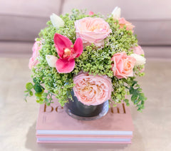 Large Real Touch Baby Pink Rose Tulip Orchid Arrangement - Flovery