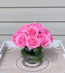 Real Touch Hot Pink Roses Arrangement-Pink Real Touch Flower Arrangement-Artificial Faux Silk Flowers-Real Touch Roses-Centerpiece-Pink Rose - Flovery