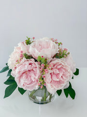 Real Touch Silk Floral Arrangement-Pink/Blush Pink Peonies Centerpiece- Real Touch Peonies Arrangement-Room Arrangement