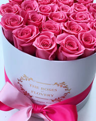 Medium Signature Round Box Eternity Sweet pink Roses - Flovery